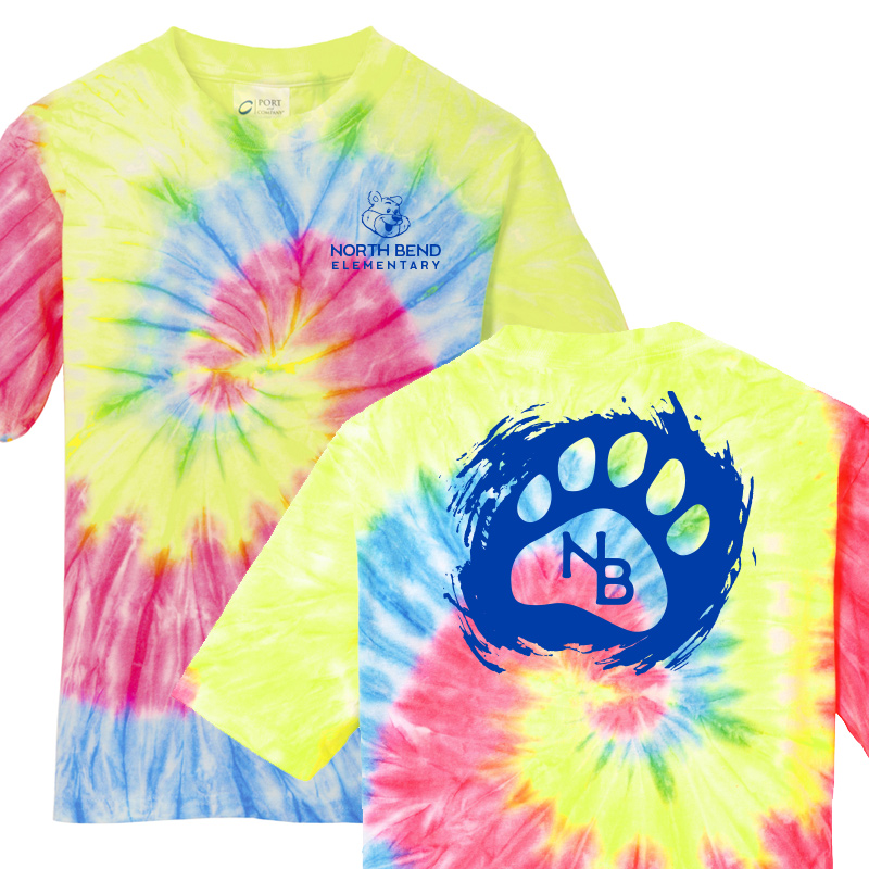 North Bend Paw  Tie-Dye Tee (Youth and Adult)  - neon rainbow