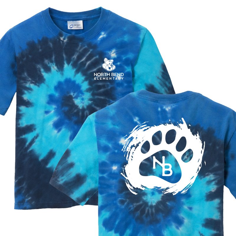 North Bend Paw  Tie-Dye Tee (Youth and Adult)  - Ocean Rainbow