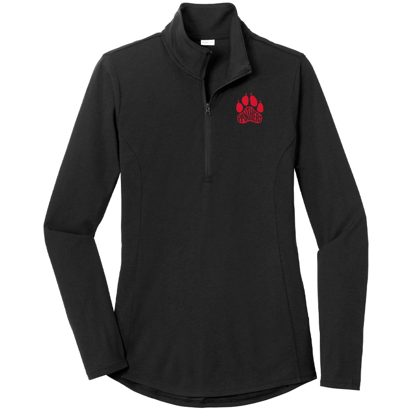 Perry Hall Middle Ladies PosiCharge Tri-Blend Wicking Quarter Zip Pullover - Black
