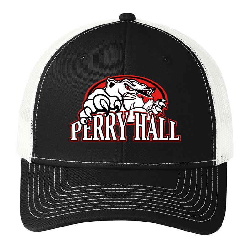 Perry Hall Middle Port Authority® Snapback Trucker Cap - Black/White