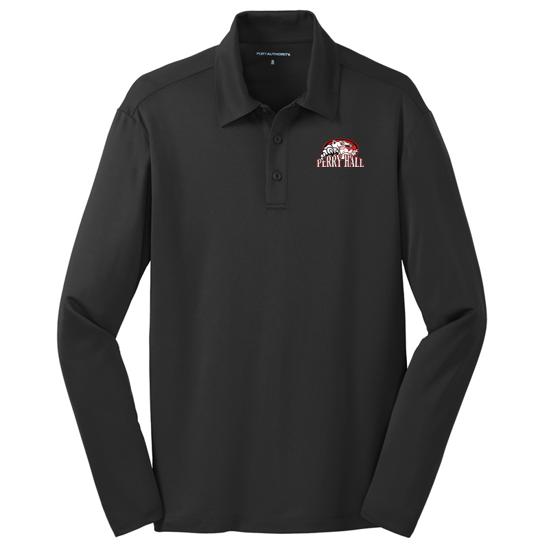Perry Hall Middle Port Authority Wicking Long Sleeve Performance Polo - Black