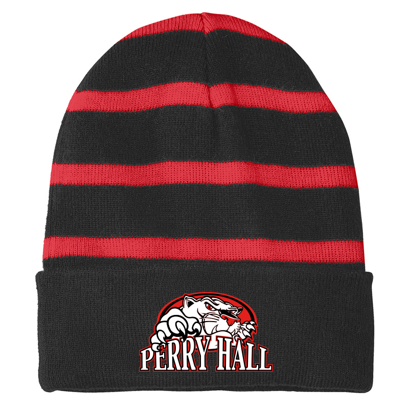 Perry Hall Middle Sport-Tek® Striped Beanie with Solid Band - Black/True Red