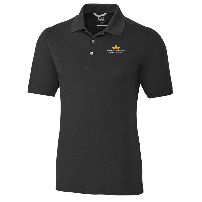 RAI Trade Marketing Cutter & Buck Mens Advantage Polo - Black with White Text