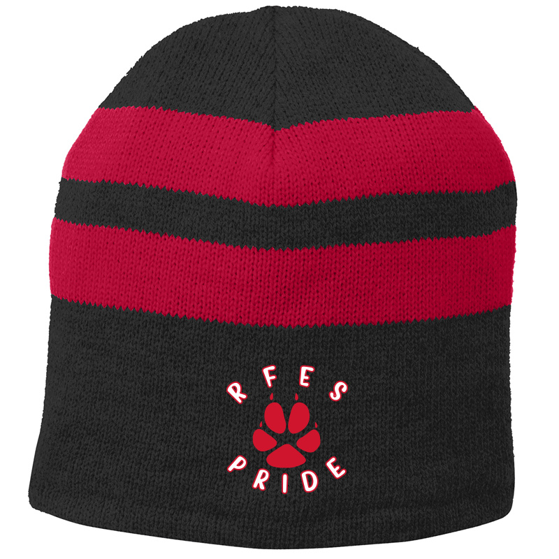 Ring Factory Elementary Fleece-Lined Striped Beanie Cap - Black/Athletic Red