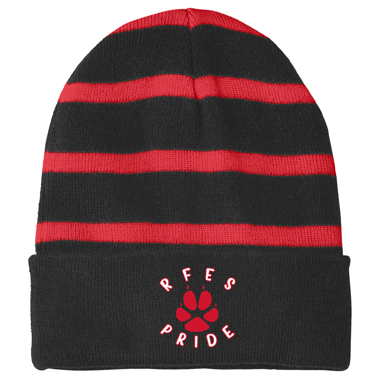 Ring Factory Elementary Striped Beanie with Solid Band - Black/True Red
