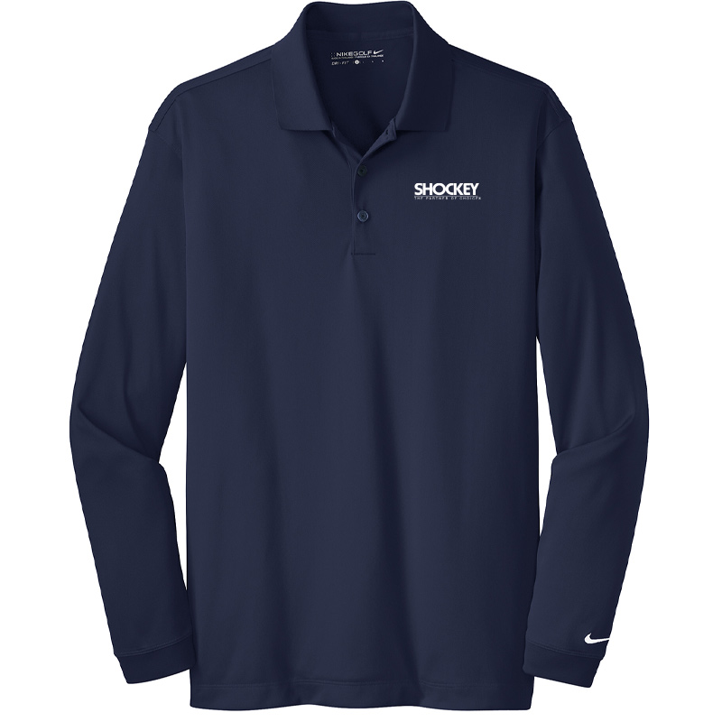 Shockey Men's Nike Long-Sleeve Polo - Navy Blue