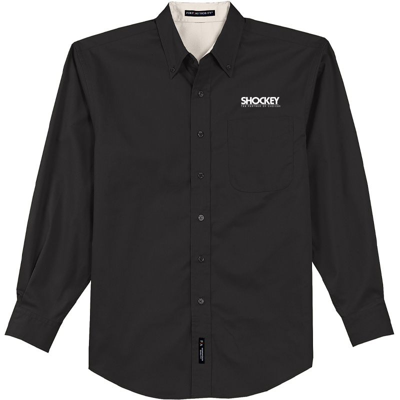 Shockey Men's Port Authority Long Sleeve Button Up - Black