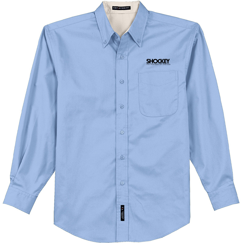 Shockey Men's Port Authority Long Sleeve Button Up - Light Blue