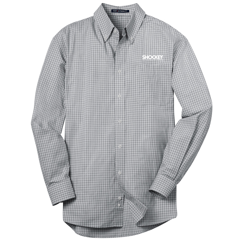 Shockey Men's Plaid Long Sleeve Button Up - Charcoal