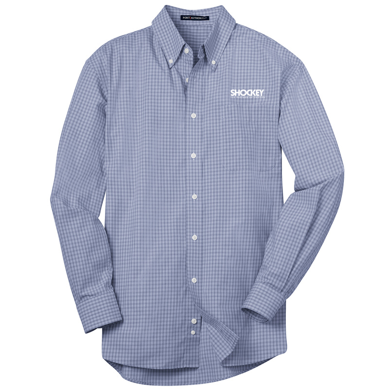 Shockey Men's Plaid Long Sleeve Button Up - Blue