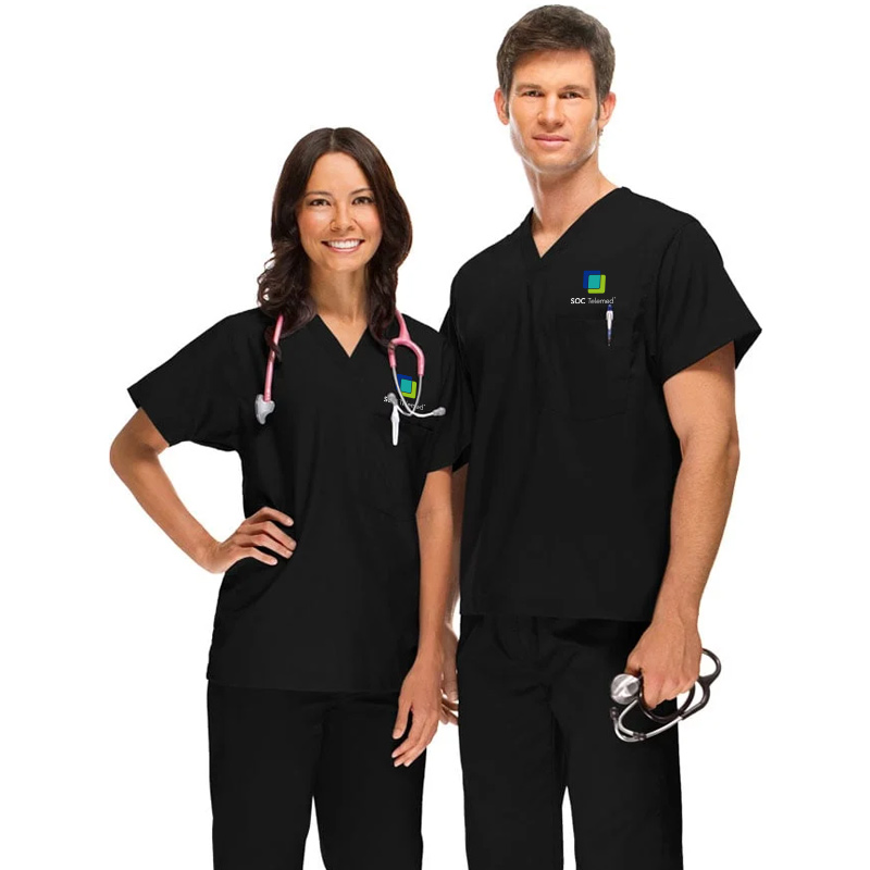 SOC Telemed Allheart Unisex V-Neck Solid Scrub Top - Black