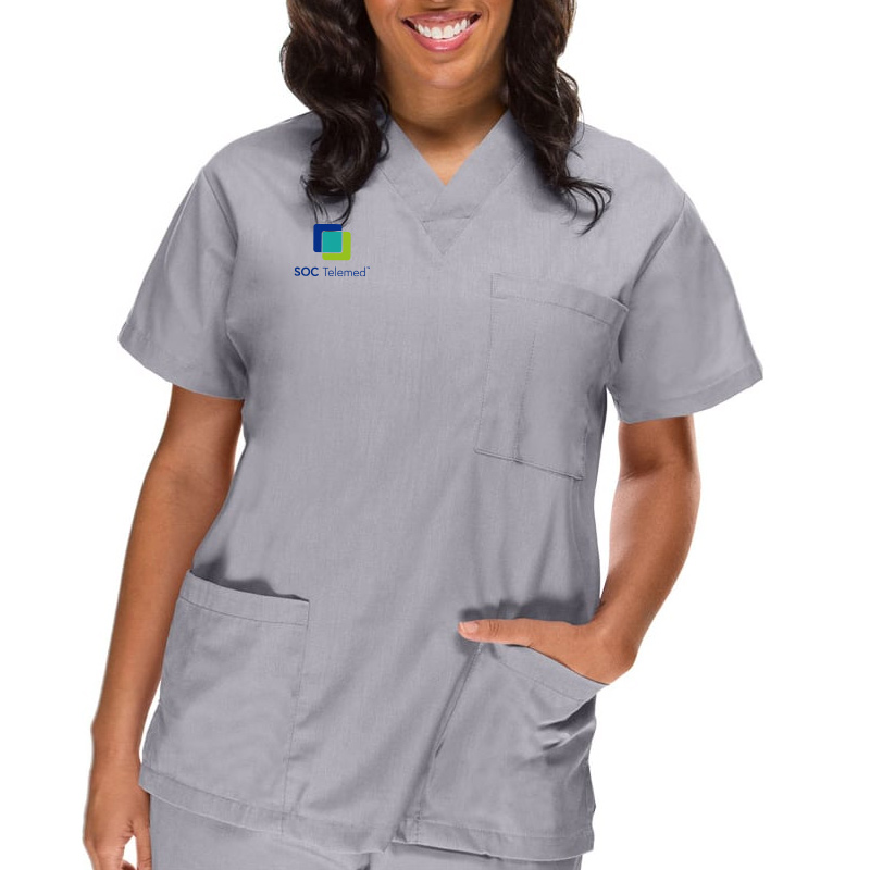 SOC Telemed Allheart Women's V-Neck 3 Pocket Solid Scrub Top - Grey