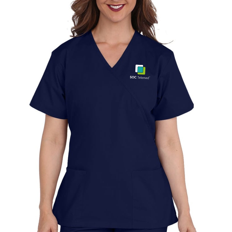 SOC Telemed Allheart Women's Mock Wrap Solid Scrub Top - Navy