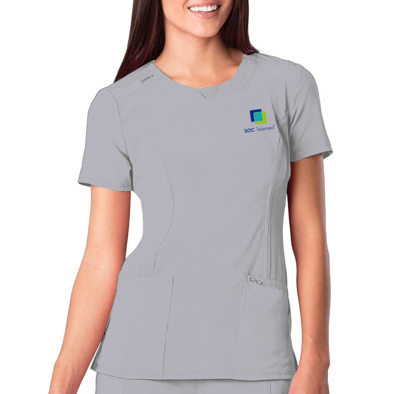 SOC Telemed Cherokee Women's Split Round Neck Solid Scrub Top- Grey
