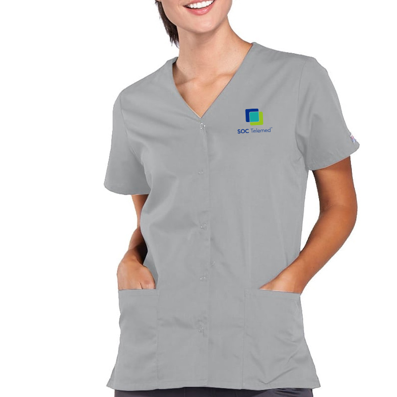 SOC Telemed Cherokee Women's Snap Front 2-Pocket Solid Scrub Top - Grey