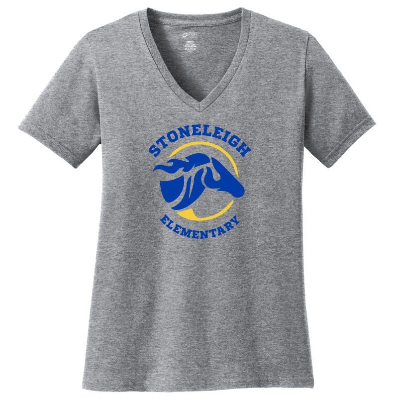 Stoneleigh Elementary Ladies Short Sleeve V Neck-Heather Grey