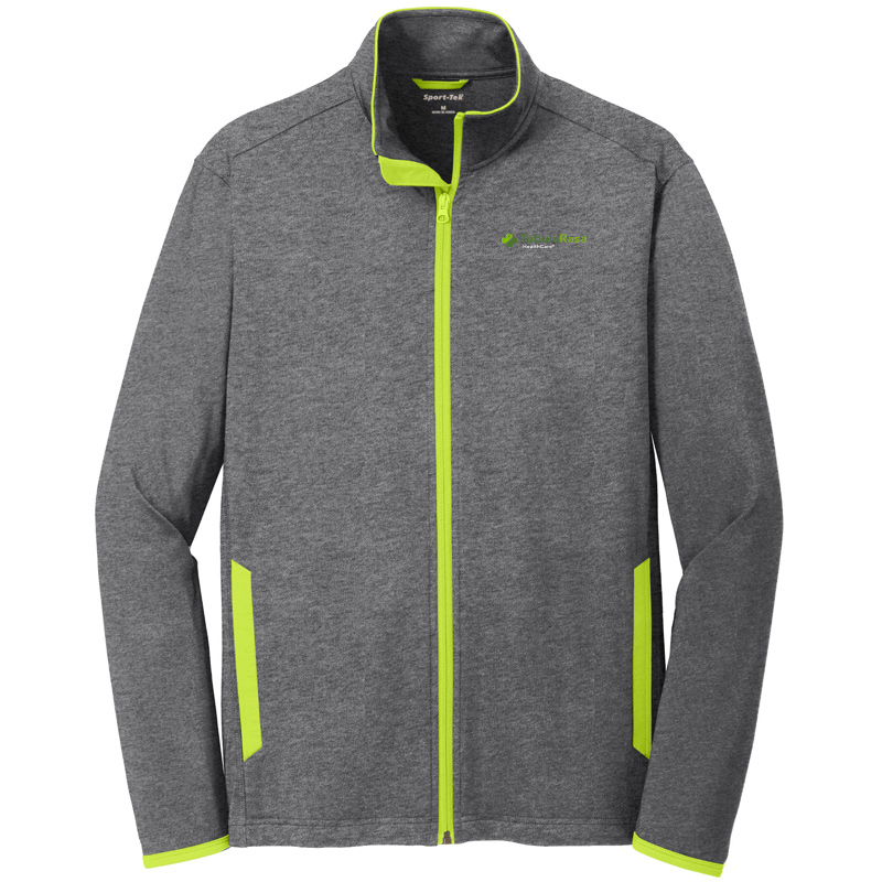 Tabularasa Sport-Tek® Sport-Wick® Stretch Contrast Full-Zip Jacket - CharcoalChargeGreen