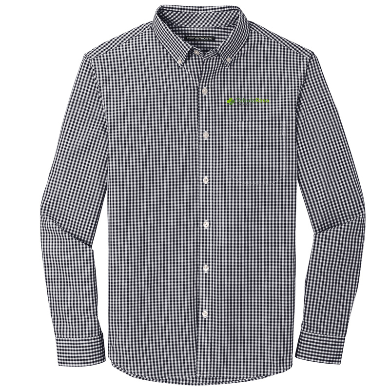 TRHC Port Authority ® Broadcloth Gingham Easy Care Shirt - Black/White