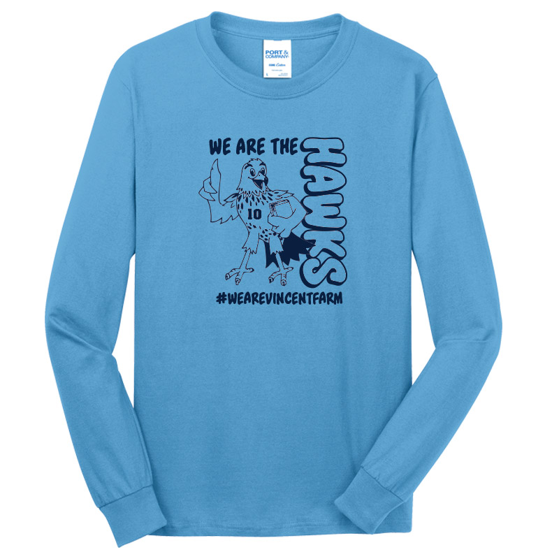 We are the Hawks Long Sleeve Tshirt --Carolina Blue