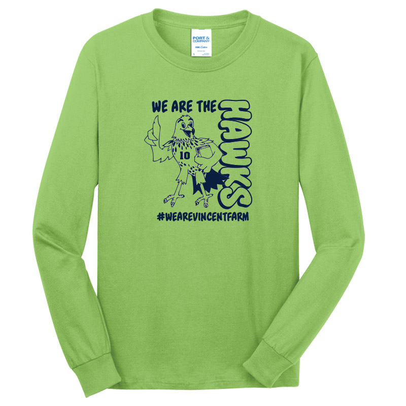 We are the Hawks Long Sleeve Tshirt - Safety Green