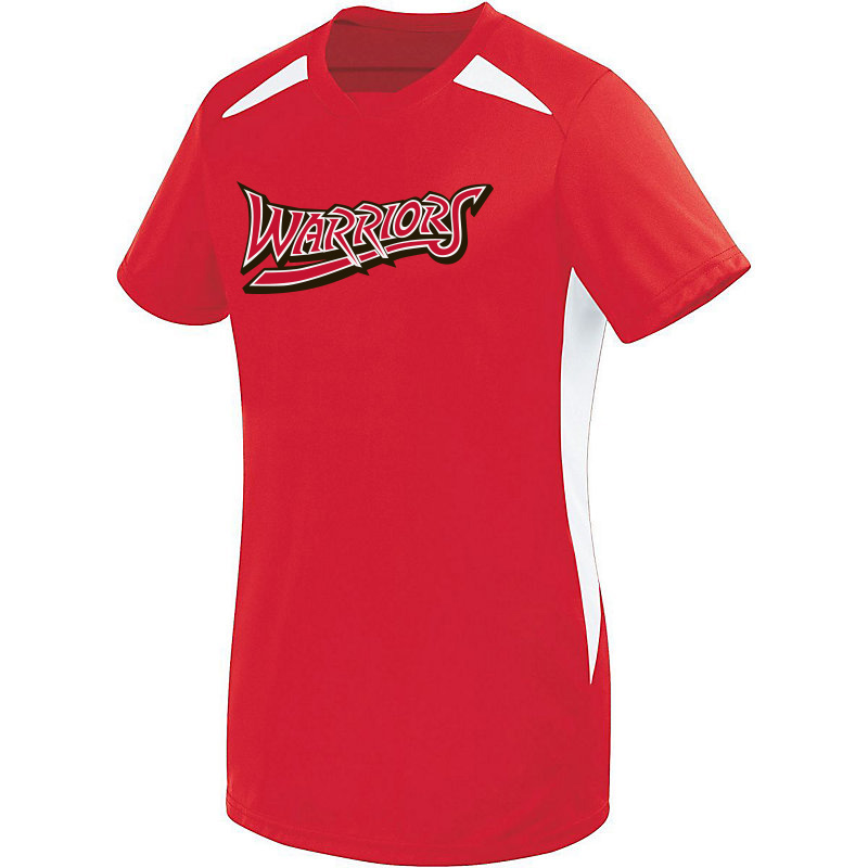 White Marsh Warriors Ladies Hawk Wicking 2 Toned Performance Tshirt-Red